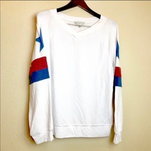 Wildfox || White Red Blue Star Sweater